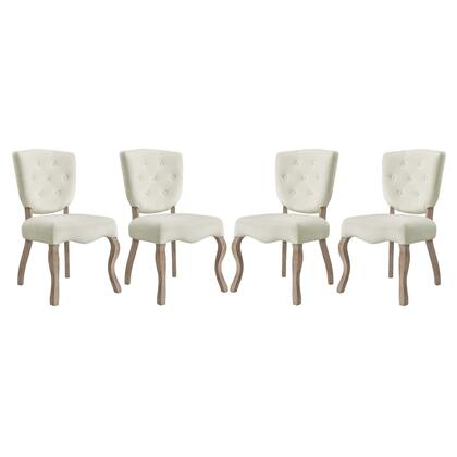 Array Collection EEI-3382-IVO Dining Side Chairs with Dense Foam Padding  Button Tufted Seat Back  Non-Marking Foot Caps  Weathered Wood Saber Legs