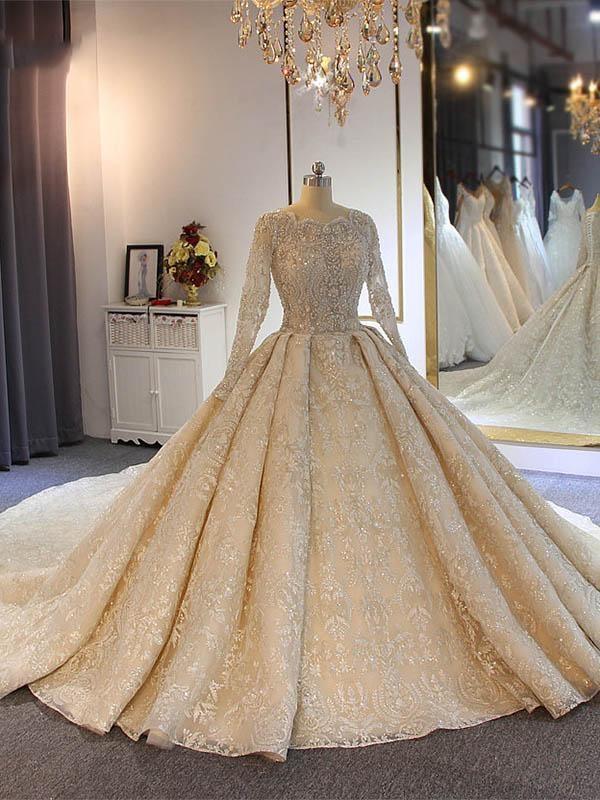 Appliques de luxe cristal robes de mariee a manches longues   Robes de mariee robe de bal tribunal train perles