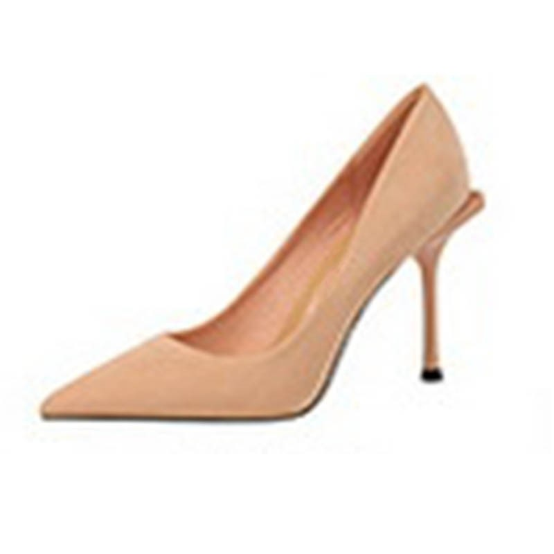 Ericdress Faux Suede Pointed Toe Stiletto Heel Slip-On Pumps