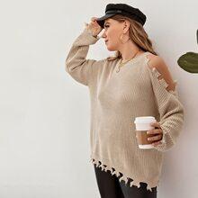 Plus Drop Shoulder Cut-out Distressed Sweater