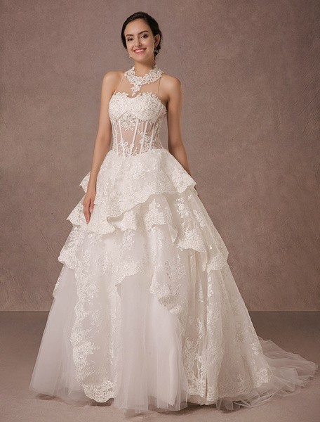 Milanoo Illusion Neckline Lace Ball Gown Wedding Dress