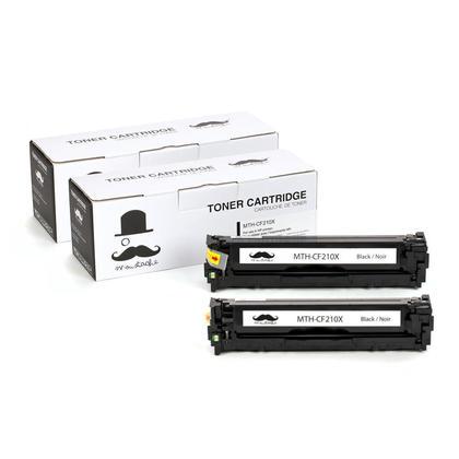 Compatible HP 131X CF210X cartouche de toner noire haute capacite - Moustache@ - 2/paquet