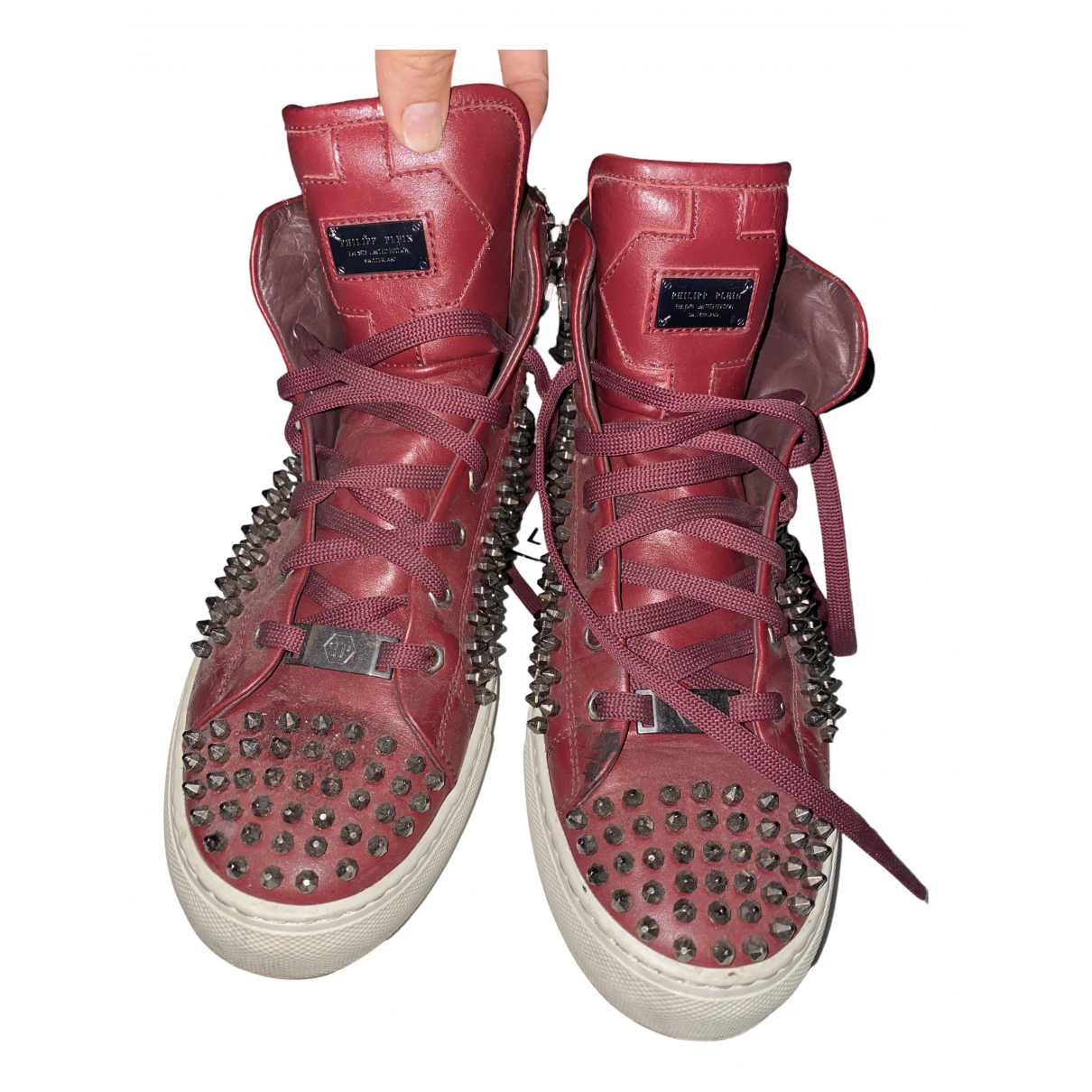 Philipp Plein \N Sneakers in  Bordeauxrot Leder