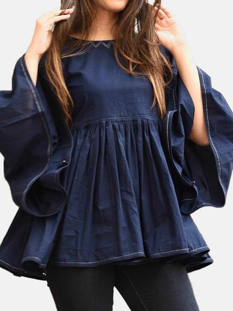 Solid Color O-neck Ruffled Long Sleeve Backless Pleated Shirt For Women