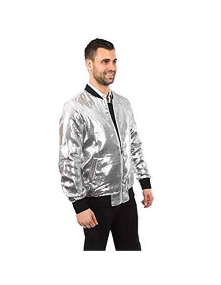 Mens Jacket Slim Fit White Sequin Pattern Blazer Bomber Jacket