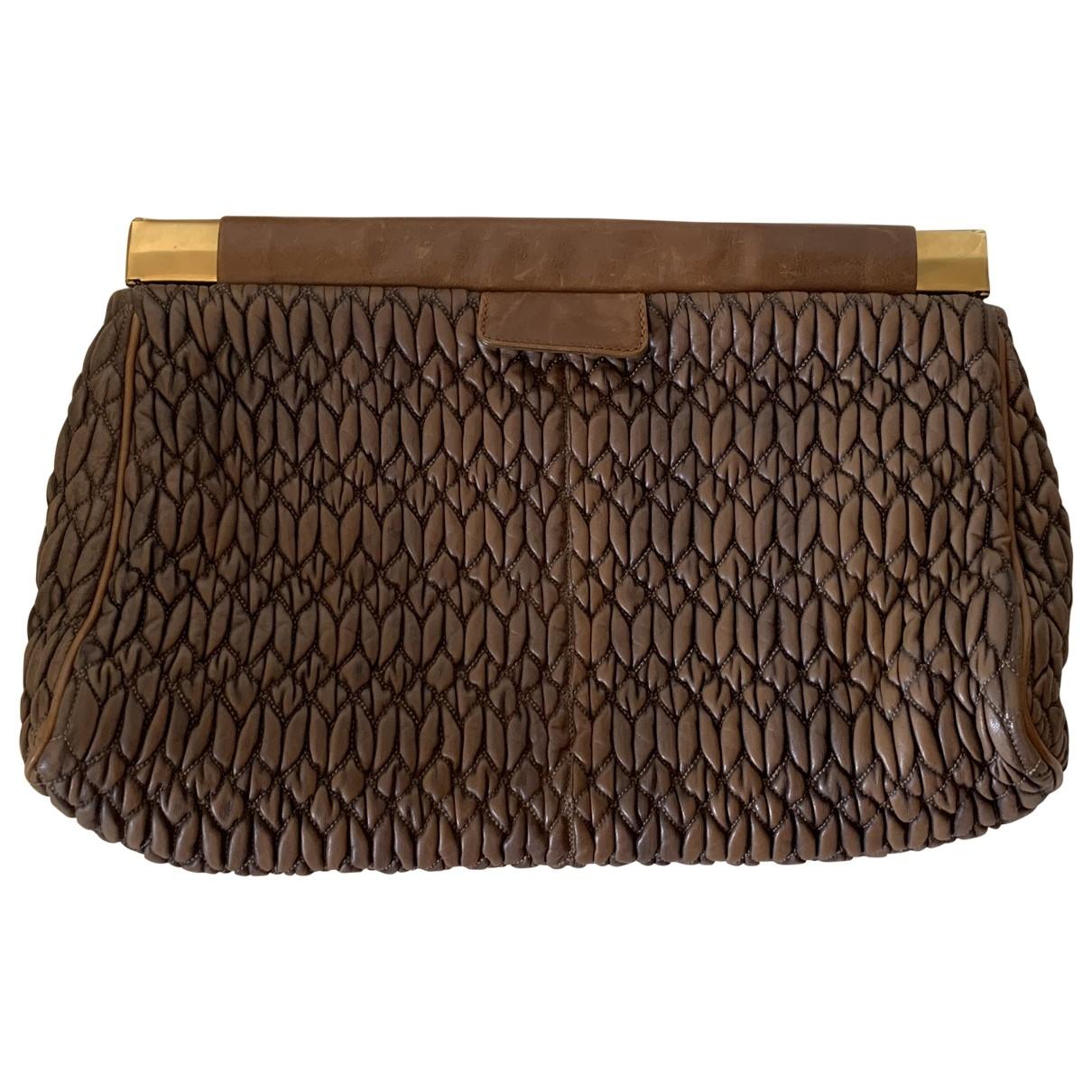 Miu Miu Matelassé Brown Leather Clutch bag for Women \N