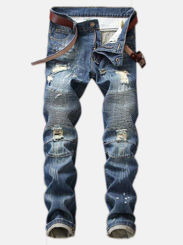 Hole Jeans Straight Fold Slim Jeans Nostalgic Trousers For Men