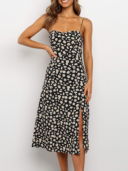 Milanoo Vestido de verano Daisy Floral Print Split Beach Dress