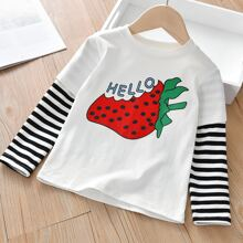 Toddler Girls Strawberry Print 2 In 1 Tee