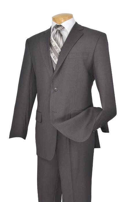 Poly/Rayon Executive Pure Solid Gray Suit Notch Collar Pleated Pants
