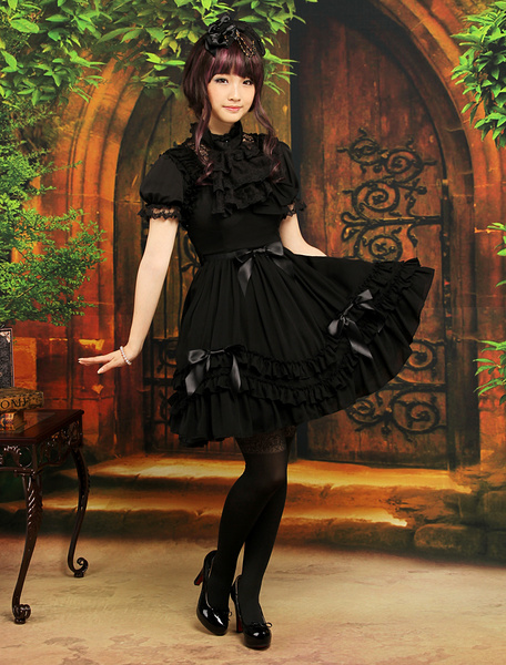 Milanoo Vestido dulce de gasa negra sin mangas de estilo de Lolita
