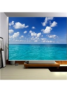 3D Blue Sky and White Clouds with Peaceful Sea Printed Scenery Curtain