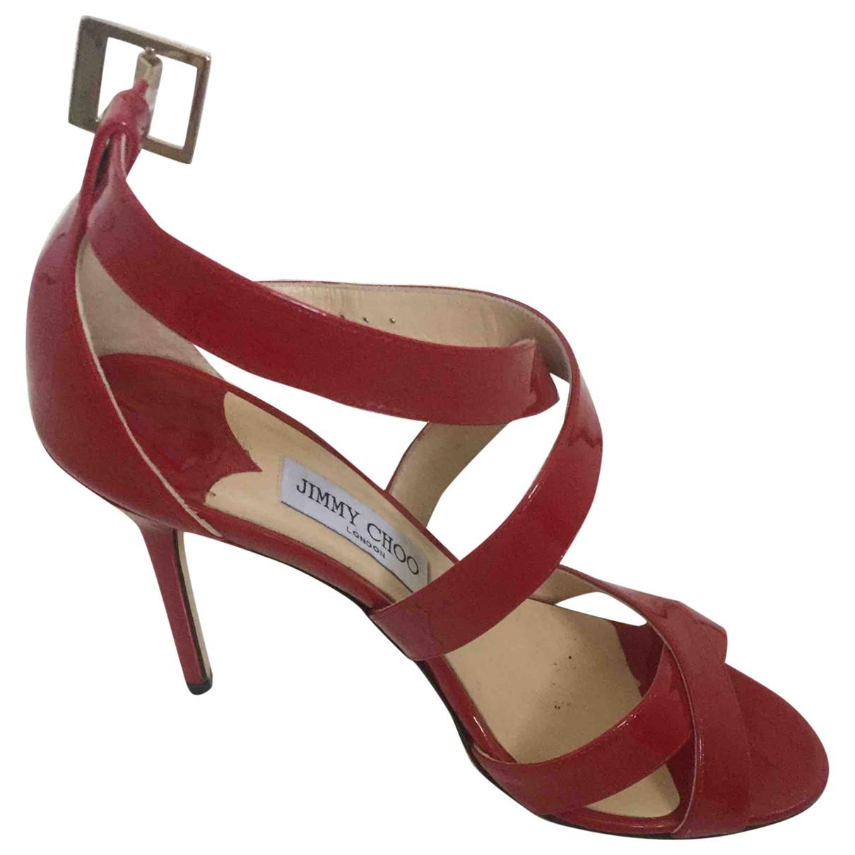 Jimmy Choo - Sandales   pour femme en cuir verni - rouge