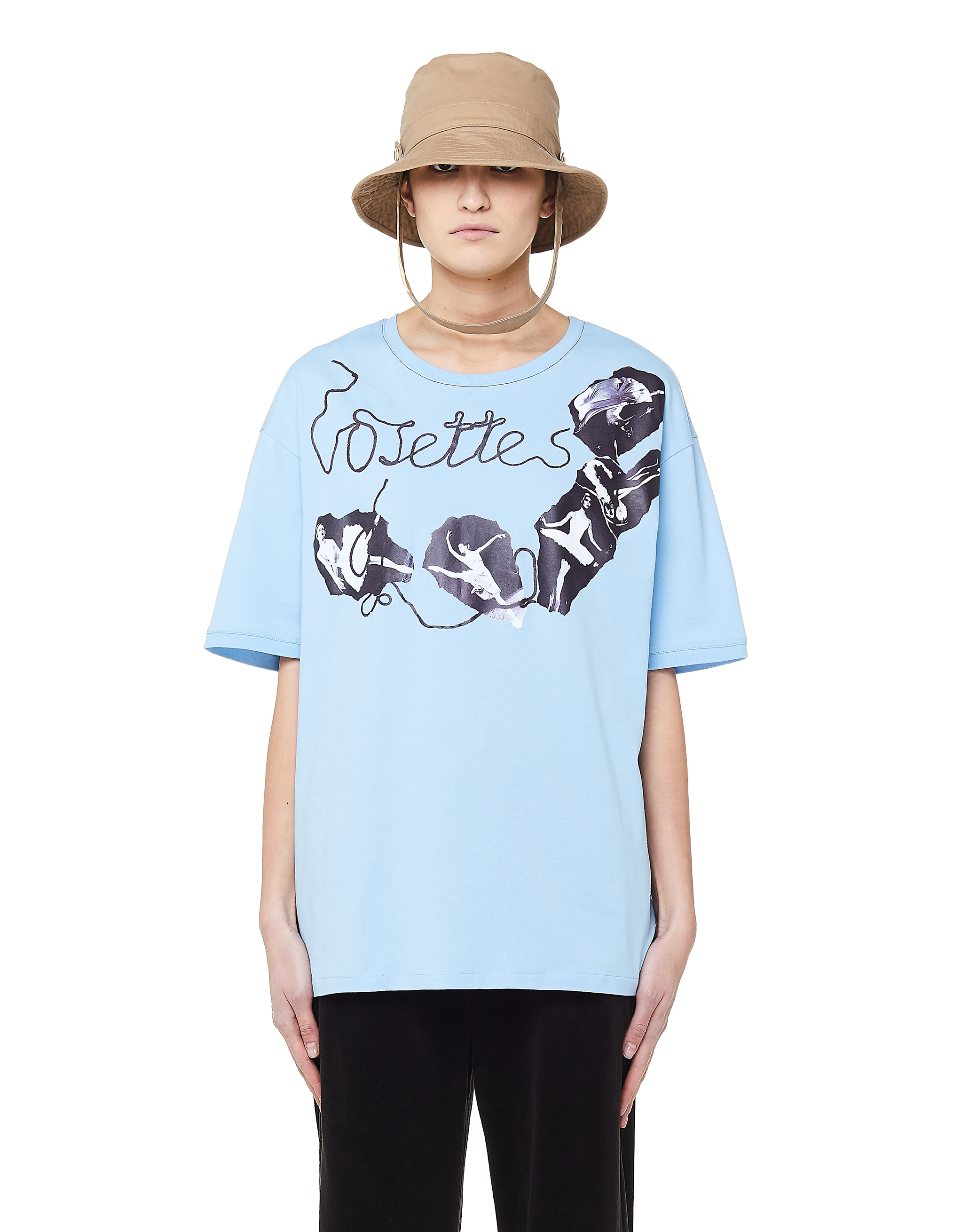 Vojettes Blue Cotton Ballerina Print T-Shirt