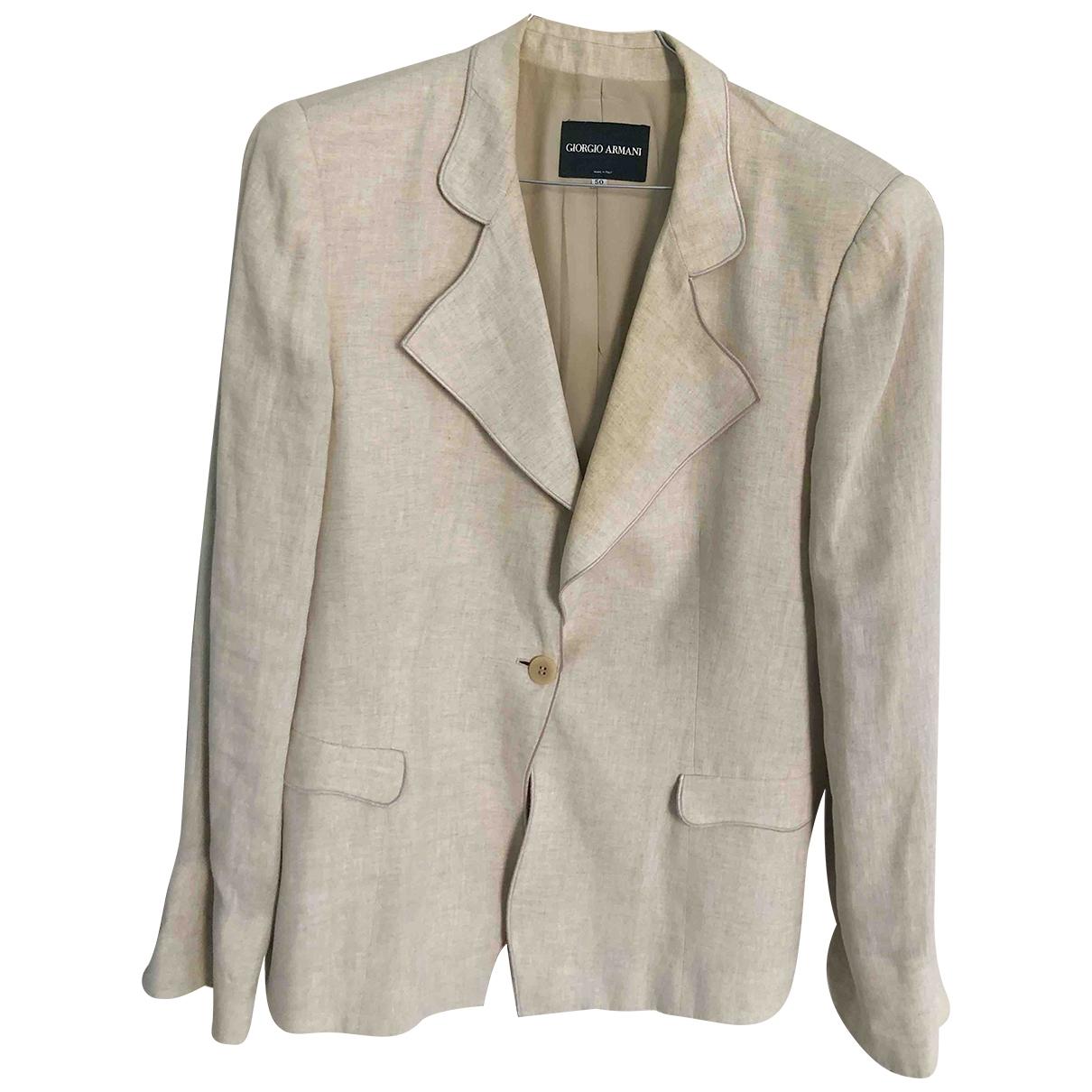 Giorgio Armani \N Beige Linen jacket for Women 48 IT