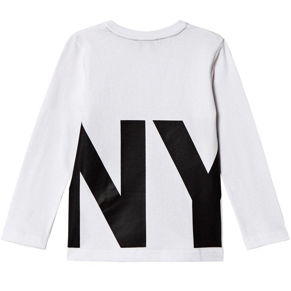 DKNY Kids Logo Print Long Sleeve T-Shirt White  Colour: WHITE, Size: 4 YEARS