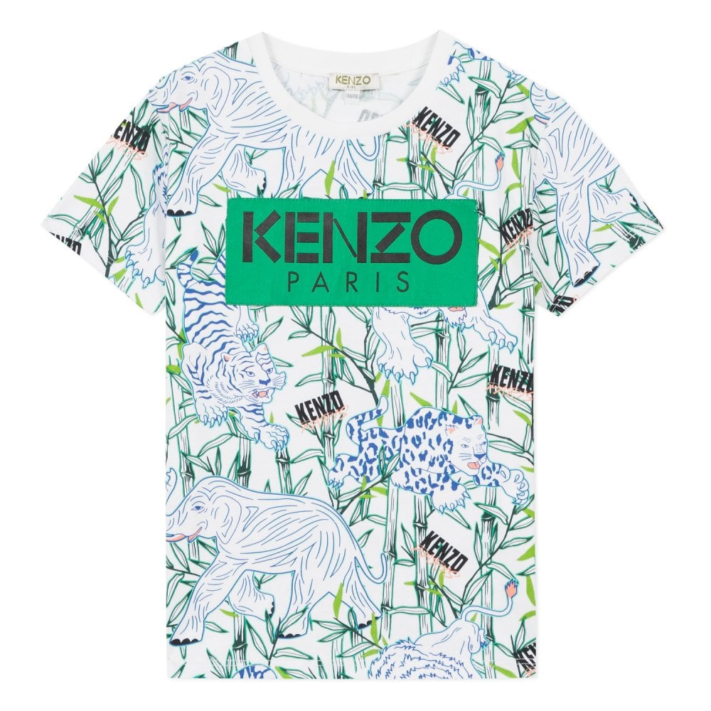 Kenzo Kids Jungle Tiger Graphic T-Shirt  Colour: WHITE, Size: 10 YEARS