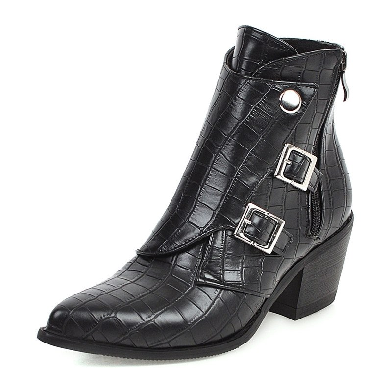 Ericdress Chunky Heel Plain Side Zipper Women's Ankle Boots