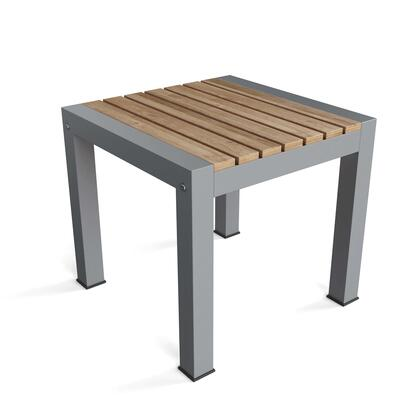 Seville TB-1919ST 20 Square Side Table with Teak Wood Construction and Aluminum in Grey 170 Grit Powder