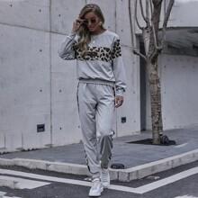 Sweatshirt mit Kontrast und Leopard Muster Einsatz & Jogginghose