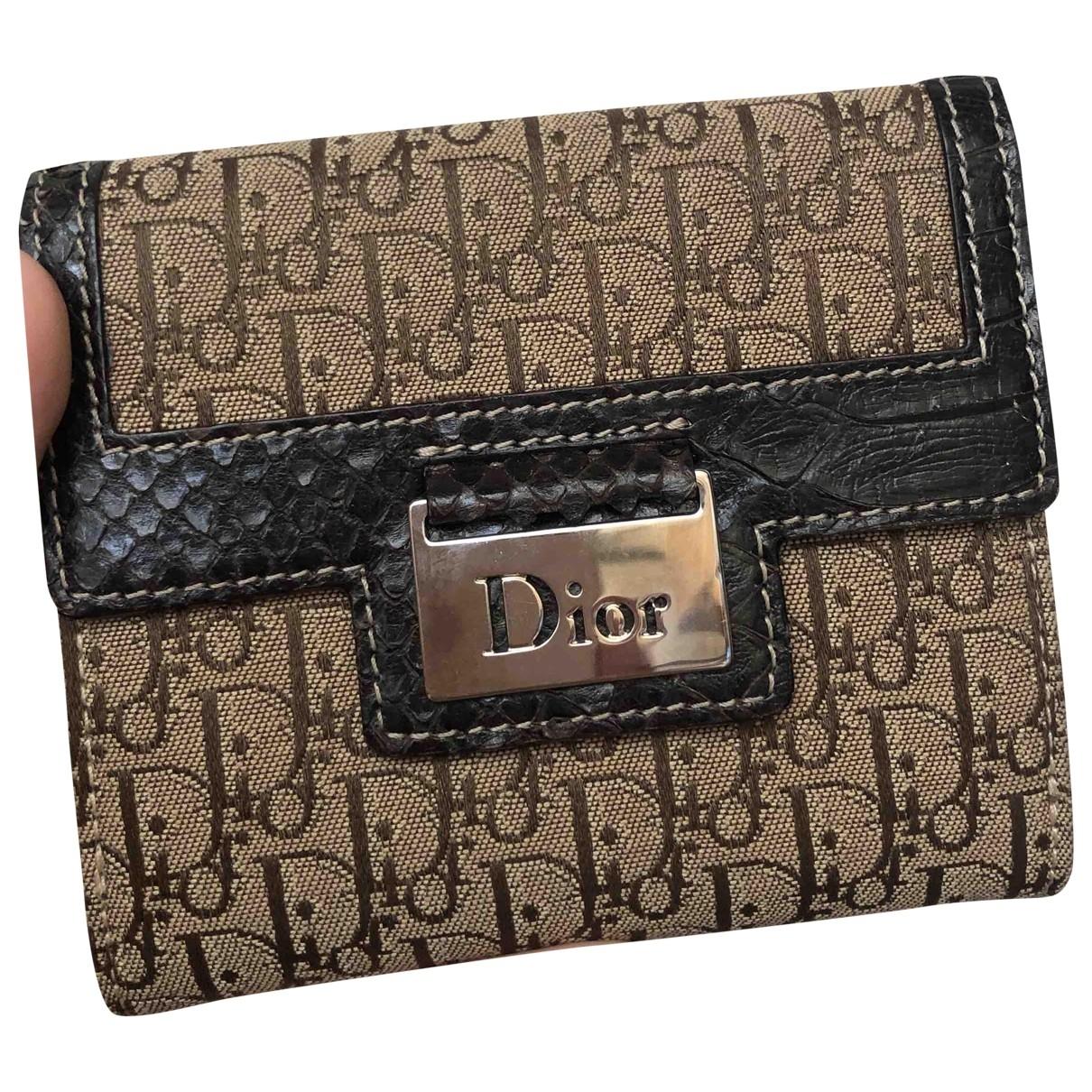 Dior - Portefeuille   pour femme en toile - marron
