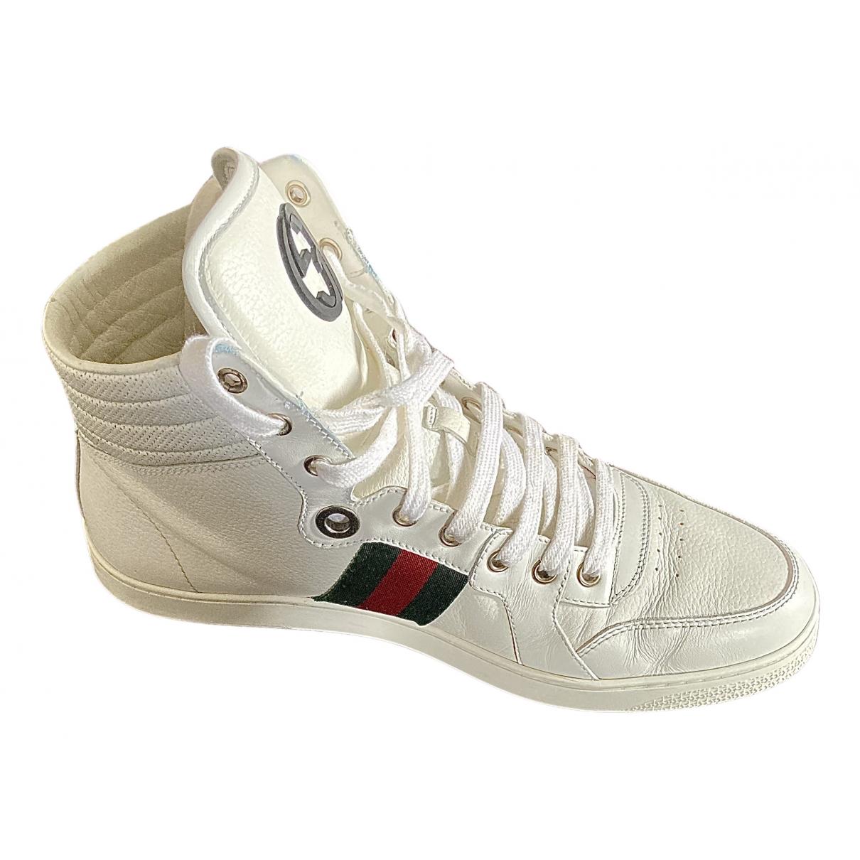 Gucci - Baskets Web pour homme en cuir - blanc