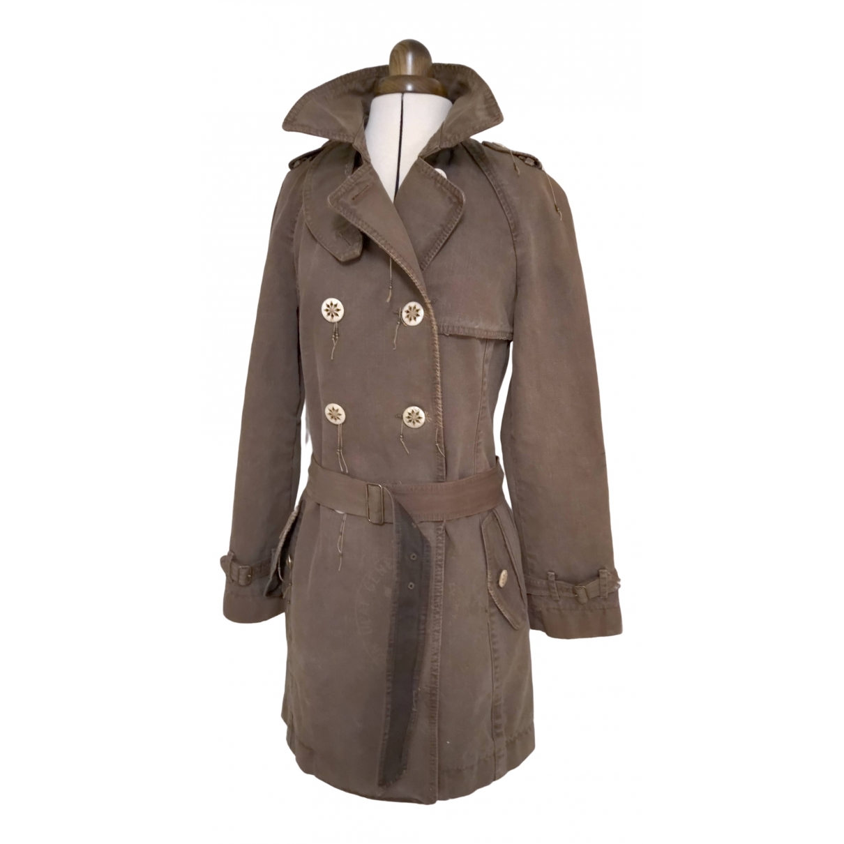 Non Signé / Unsigned \N Khaki Cotton Trench coat for Women 42 IT