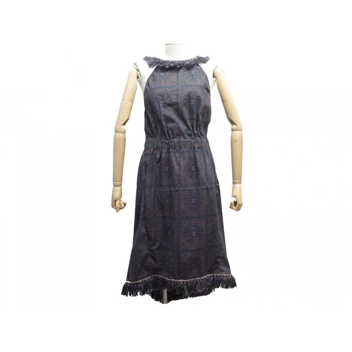 Chanel - Robe   pour femme en coton - marine