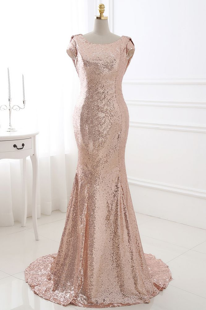COURTNEY | Fit et Flare Sweep train paillettes Rosy Golden Prom Dress