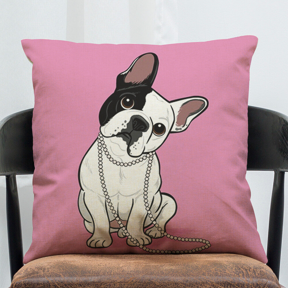 Cartoon French Bulldog Cotton Linen Pillowcase Square Living Room Sofa Decoration Cushion Cover