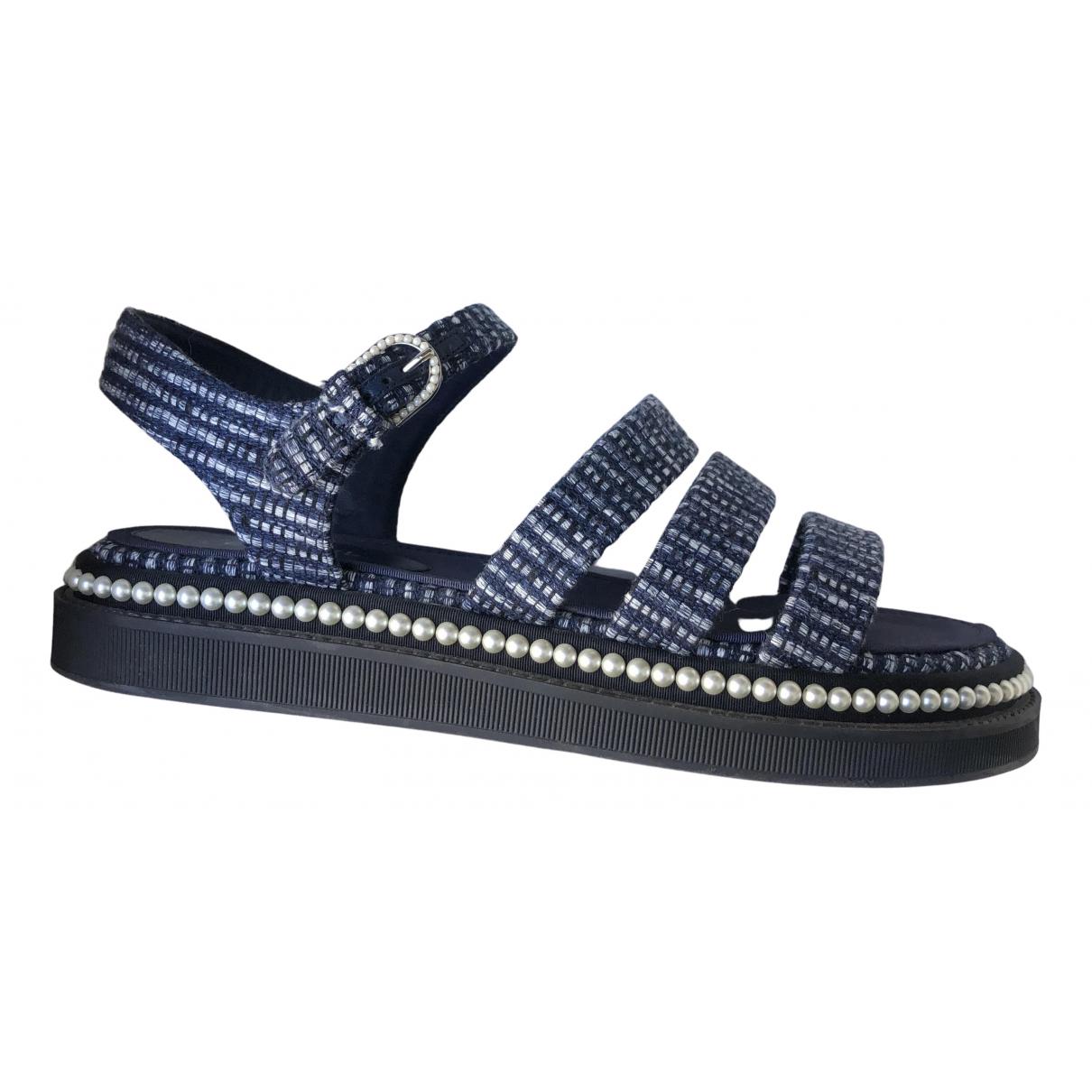 Chanel - Sandales   pour femme en tweed - marine