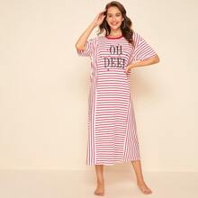 Drop Shoulder Letter and Star Print Striped Nightdress