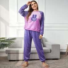 Pijamas de Talla Grande Bordado Dibujos animados Dulce