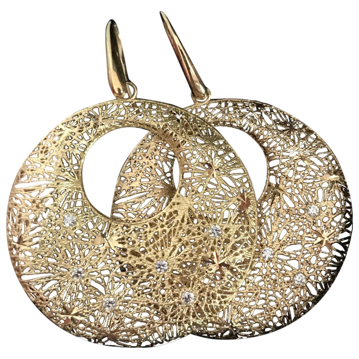 - Boucles doreilles Art Deco pour femme en or jaune - jaune