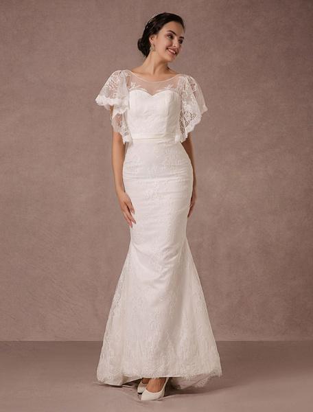 Milanoo Summer Wedding Dresses 2020 Lace Mermaid Backless Bridal Gown Illusion Neckline Court Train Beach With Detachable Ribbon Sash