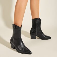 Point Toe Back Zipper Chunky Heeled Boots