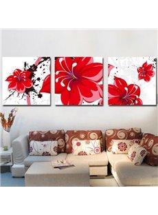 New Arrival Luxurious Big Red Flowers Print 3-piece Cross Film Wall Art Prints