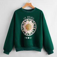 Pullover mit Buchstaben & Sonne Muster