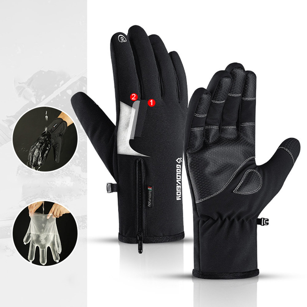 Outdoor Waterproof Gloves Zipper Touch Screen Riding Warm Sports Hiking Skiing Thickening