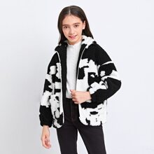 Girls Zip Up Pocket Front Two Tone Teddy Jacket