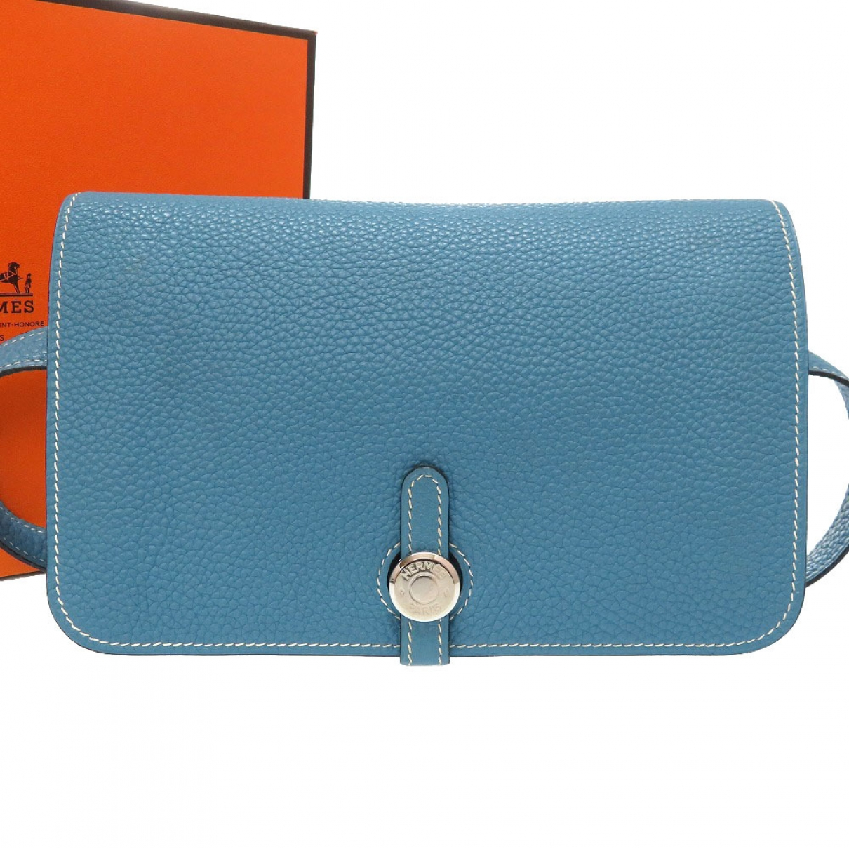 Hermès Dogon Blue Leather Clutch bag for Women \N