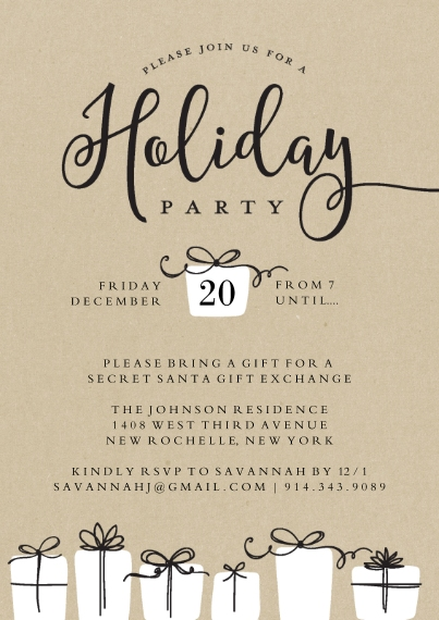 Christmas & Holiday Party Invitations 5x7 Cards, Premium Cardstock 120lb with Elegant Corners, Card & Stationery -Holiday Invite Gifts