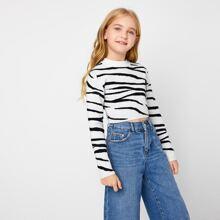 Crop Pullover mit Stehkragen und Zebra Streifen