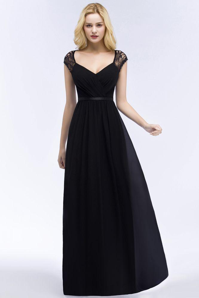 Elegante A-Linie V-Ausschnitt Bodenlange Brautjungfernkleider | Spitze Chiffon Brautjungfer Kleider