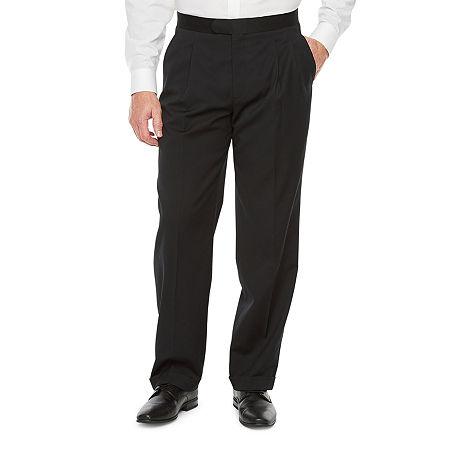 Stafford Travel Mens Regular Fit Tuxedo Pants Big and Tall, 46 30, Black