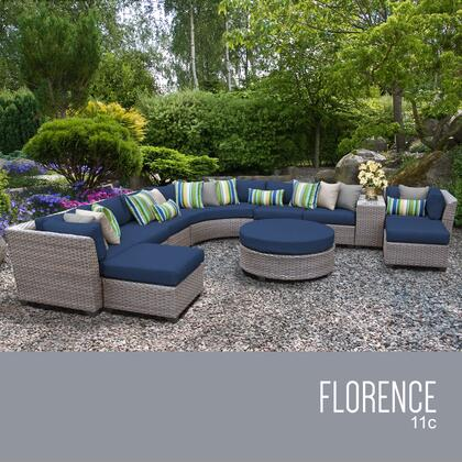 FLORENCE-11c-NAVY Florence 11 Piece Outdoor Wicker Patio Furniture Set 11c with 2 Covers: Grey and