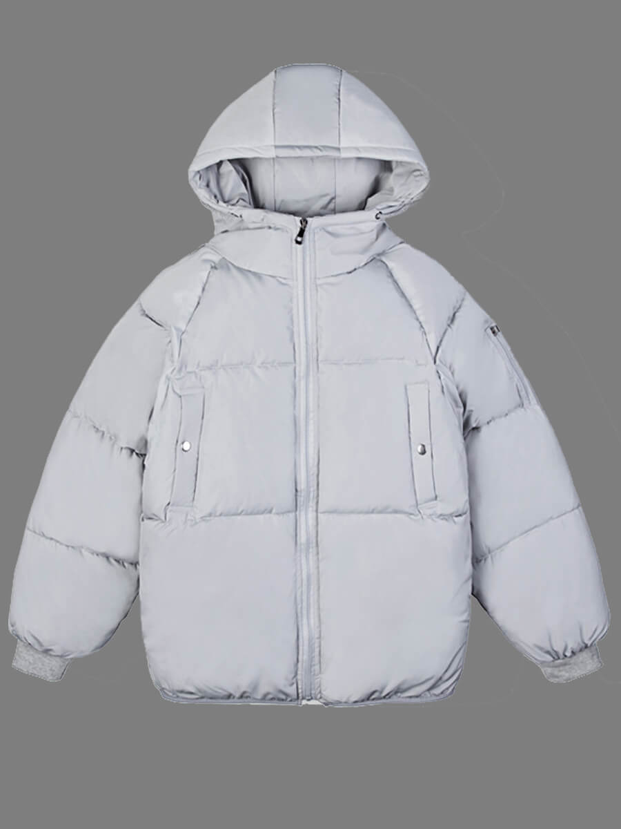 LW Lovely Leisure Hooded Collar Zipper Design Light Grey Men Cotton-padded Clothe