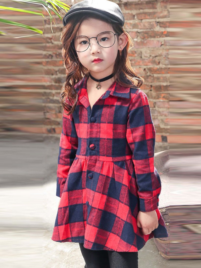 Ericdress England Plaid Back Bow-tied Long Sleeves Dress