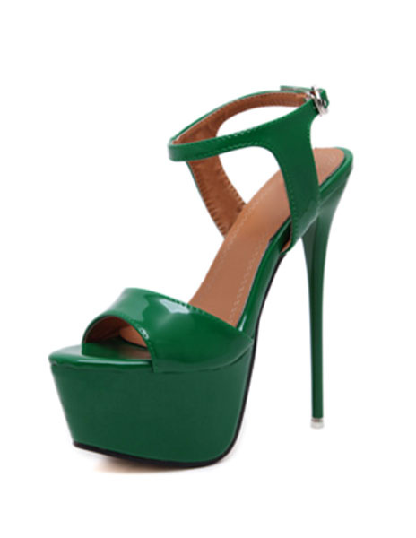 Milanoo Red Sexy Shoes Stiletto Heel Peep Toe Platform Sandals For Women