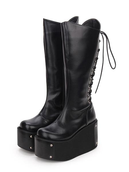 Milanoo Gothic Lolita Boots Metallic Lace Up Zipper Platform Black Lolita Footwear